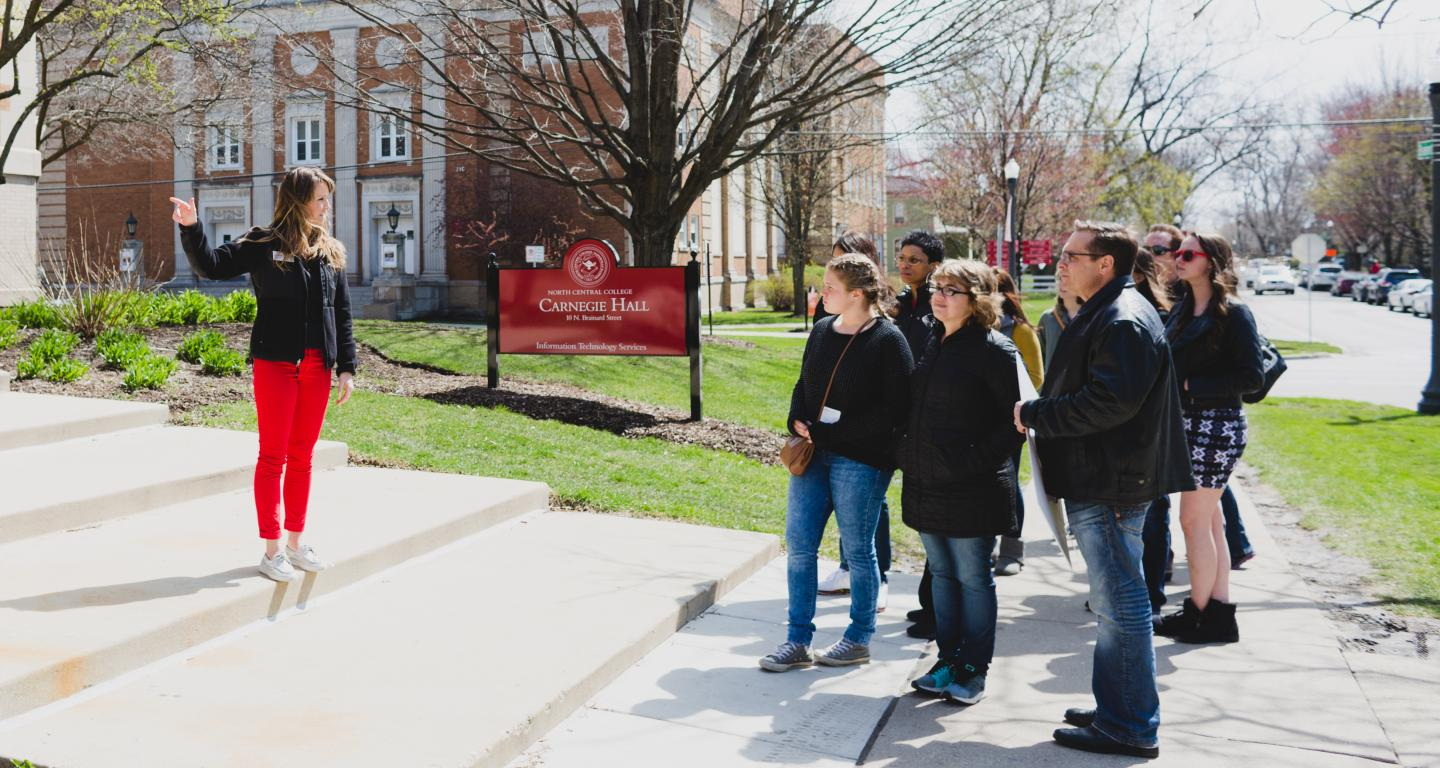 group on campus tour during visit day