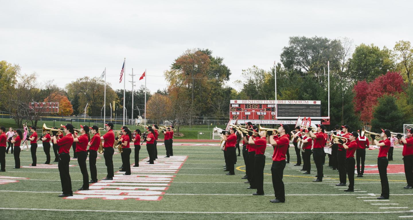 Marching Band performing at football game