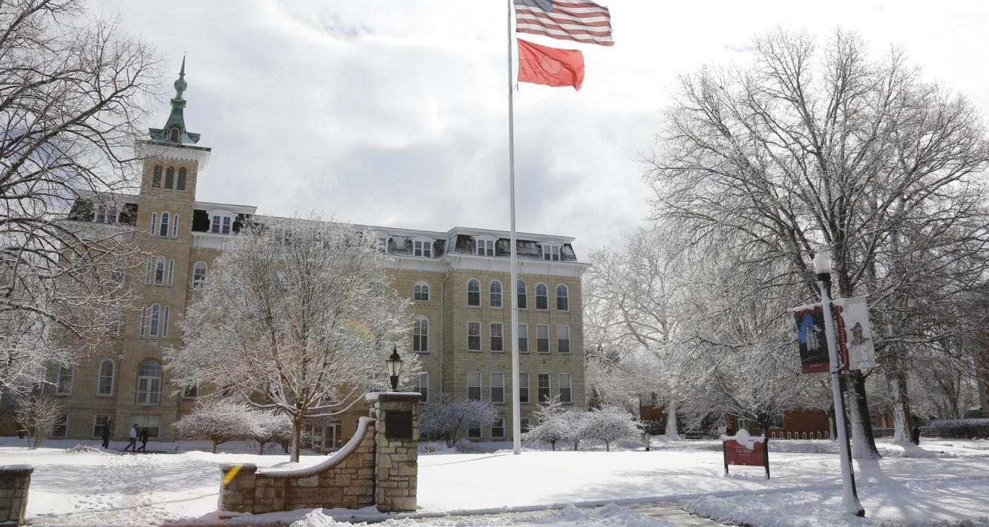 A view of Old Main during the winter at North Central College.