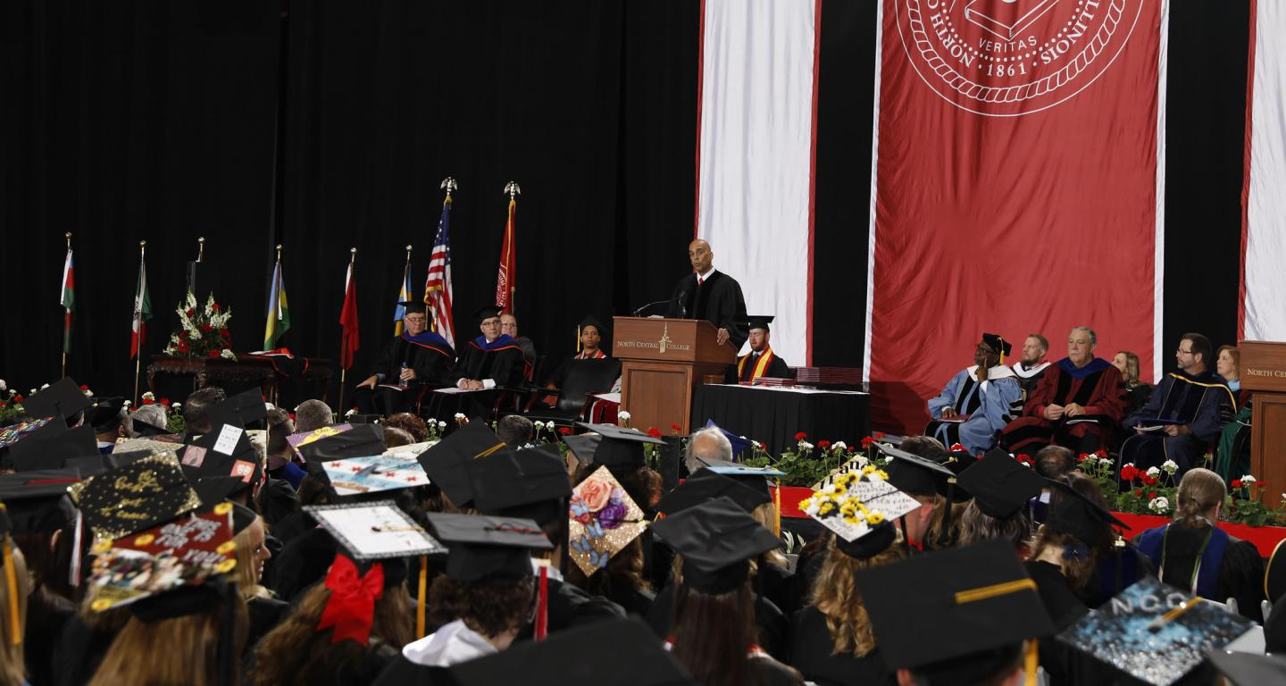 North Central College Commencement speaker Jim Williams delivers his address.