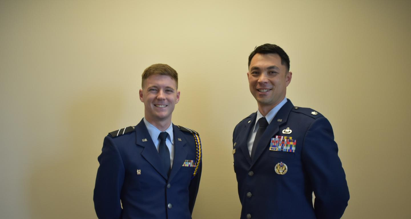 North Central College student and Air Force ROTC cadet Brady Dickerson with his commanding officer, Lt. Col. Michael Aul.