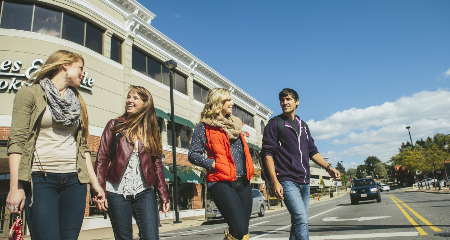 students walking in downtown naperville