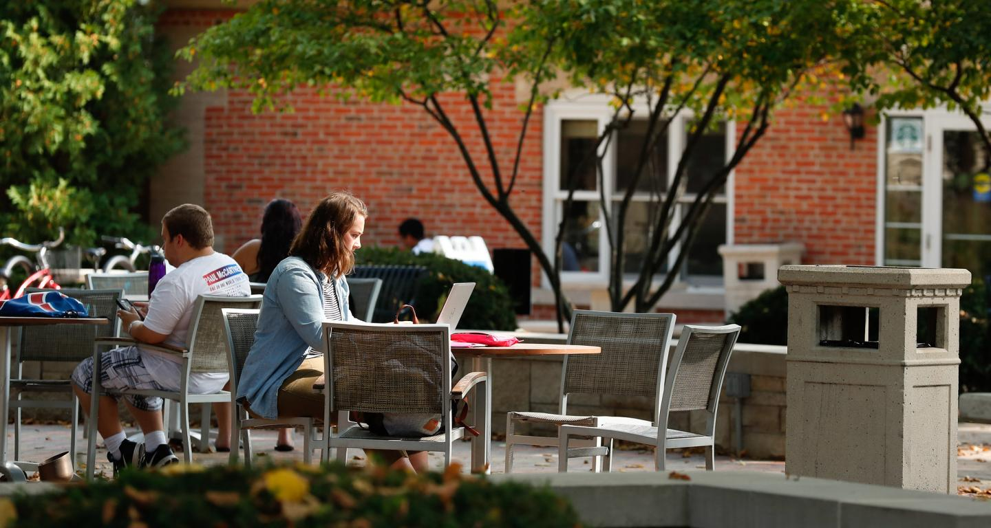 A student works on their online MBA.
