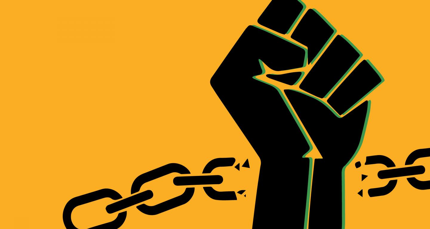 juneteenth fist with broken chains graphic