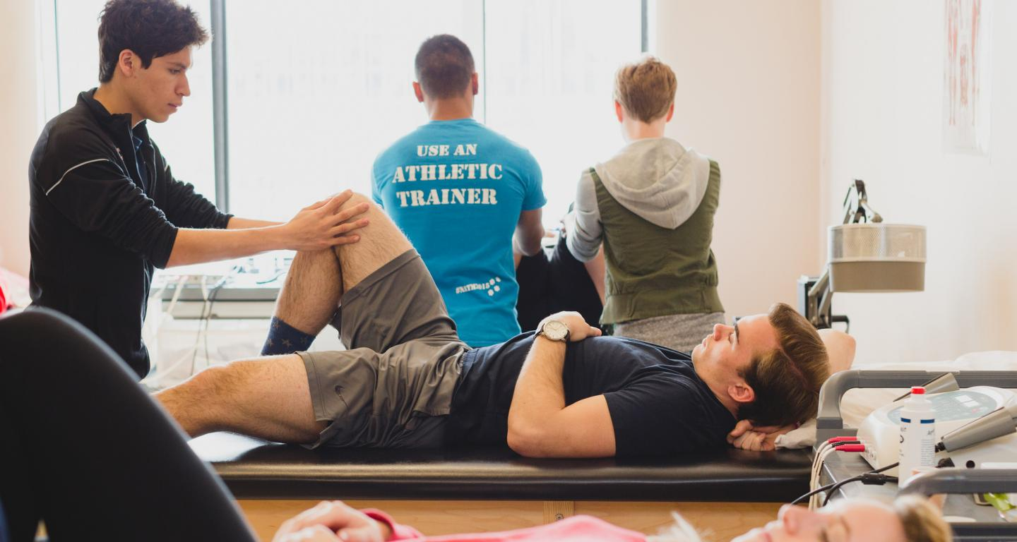 Students in physical therapy class