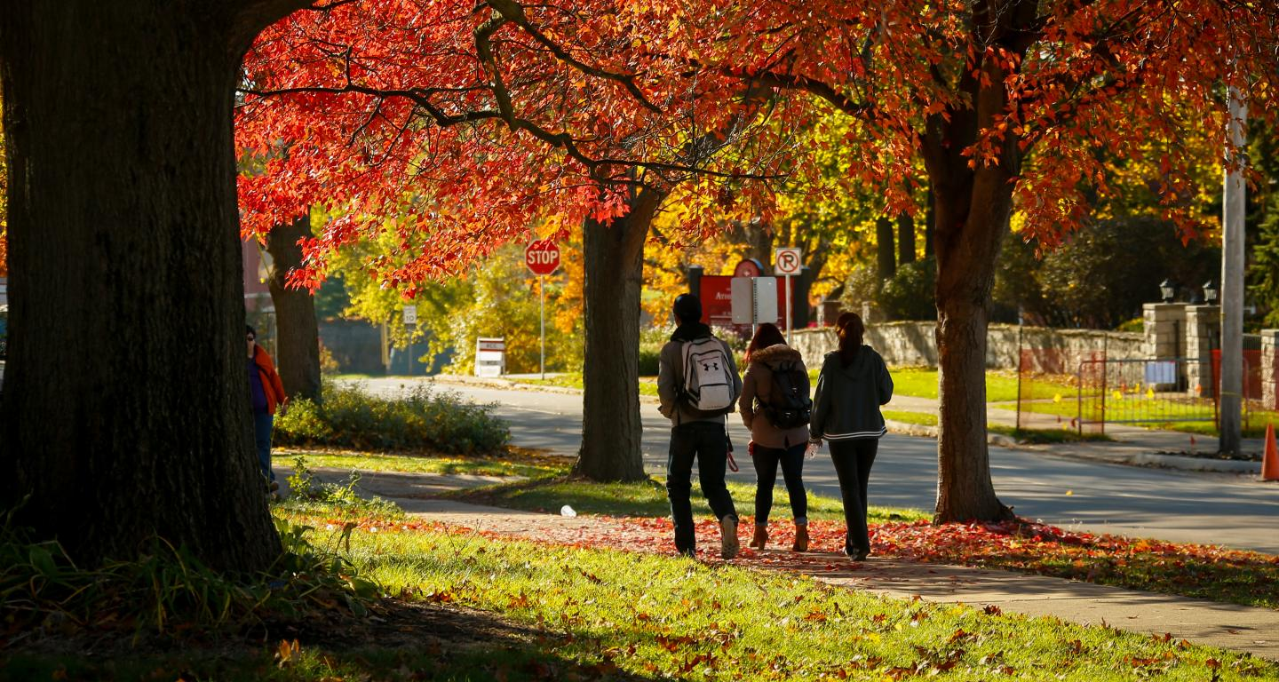 students walking on north central college campus
