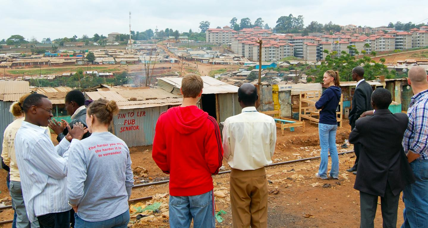 Students looking over a village on a service trip.