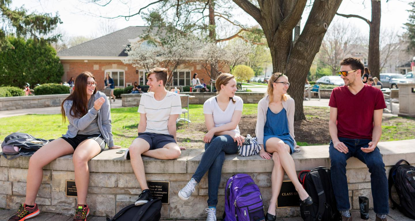 students in old main plaza