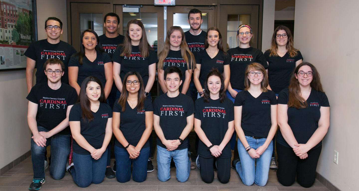 Cardinal First Ambassadors wearing their official T-shirts.
