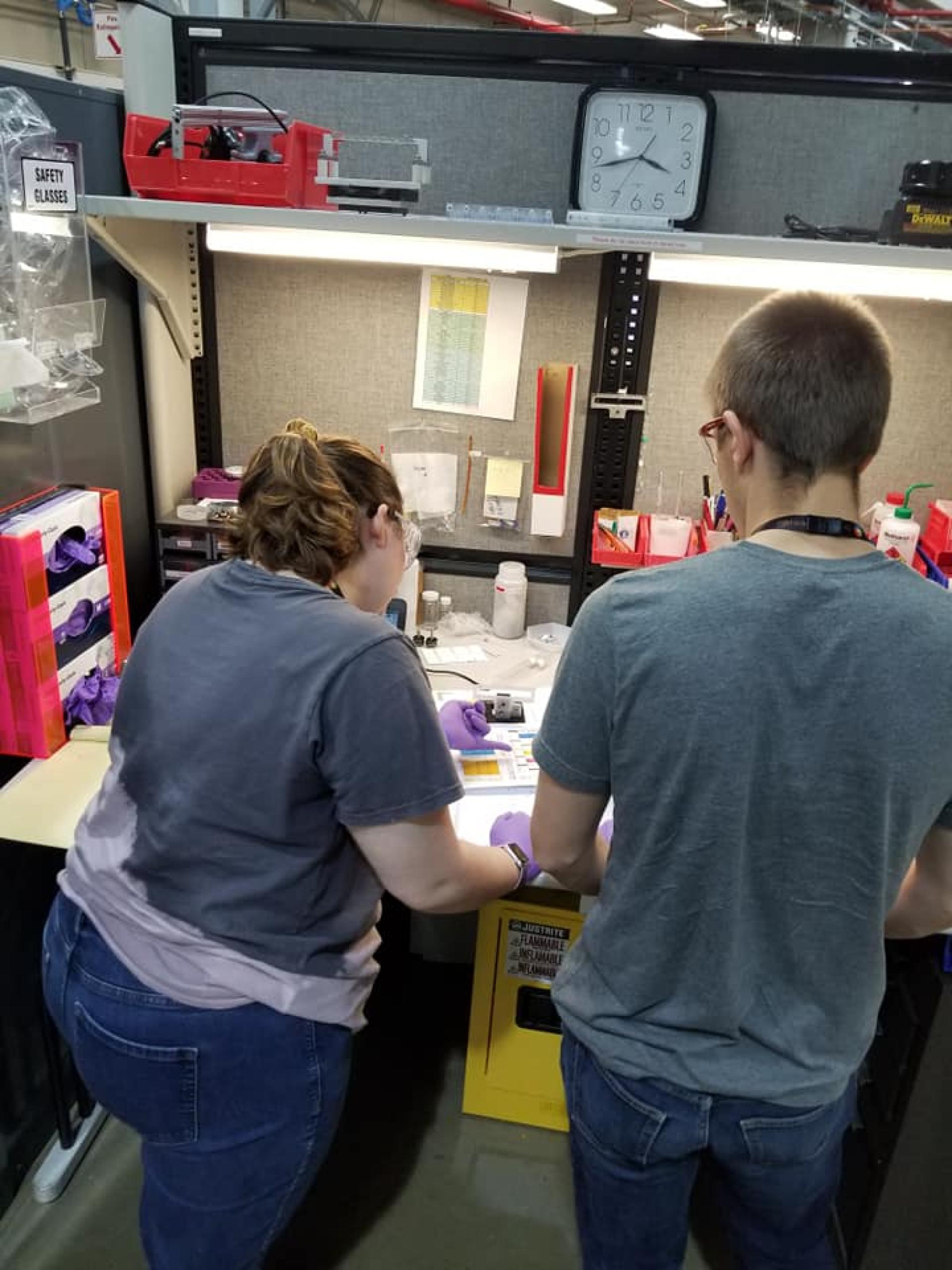 Lauren Formanski and Samuel Lee organize ionic liquid samples.