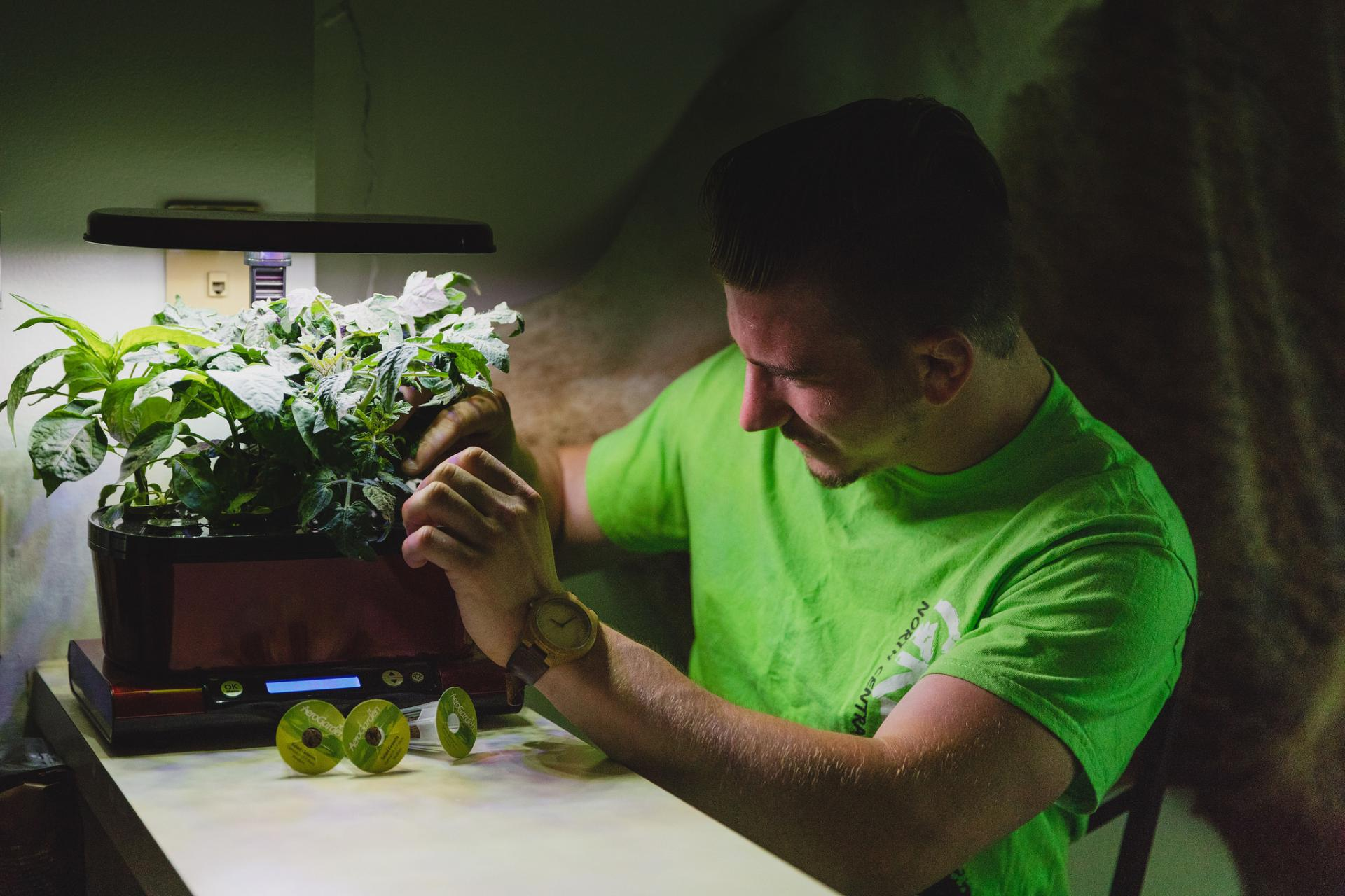 Brandon Malone works on the hydroponic unit in his home.