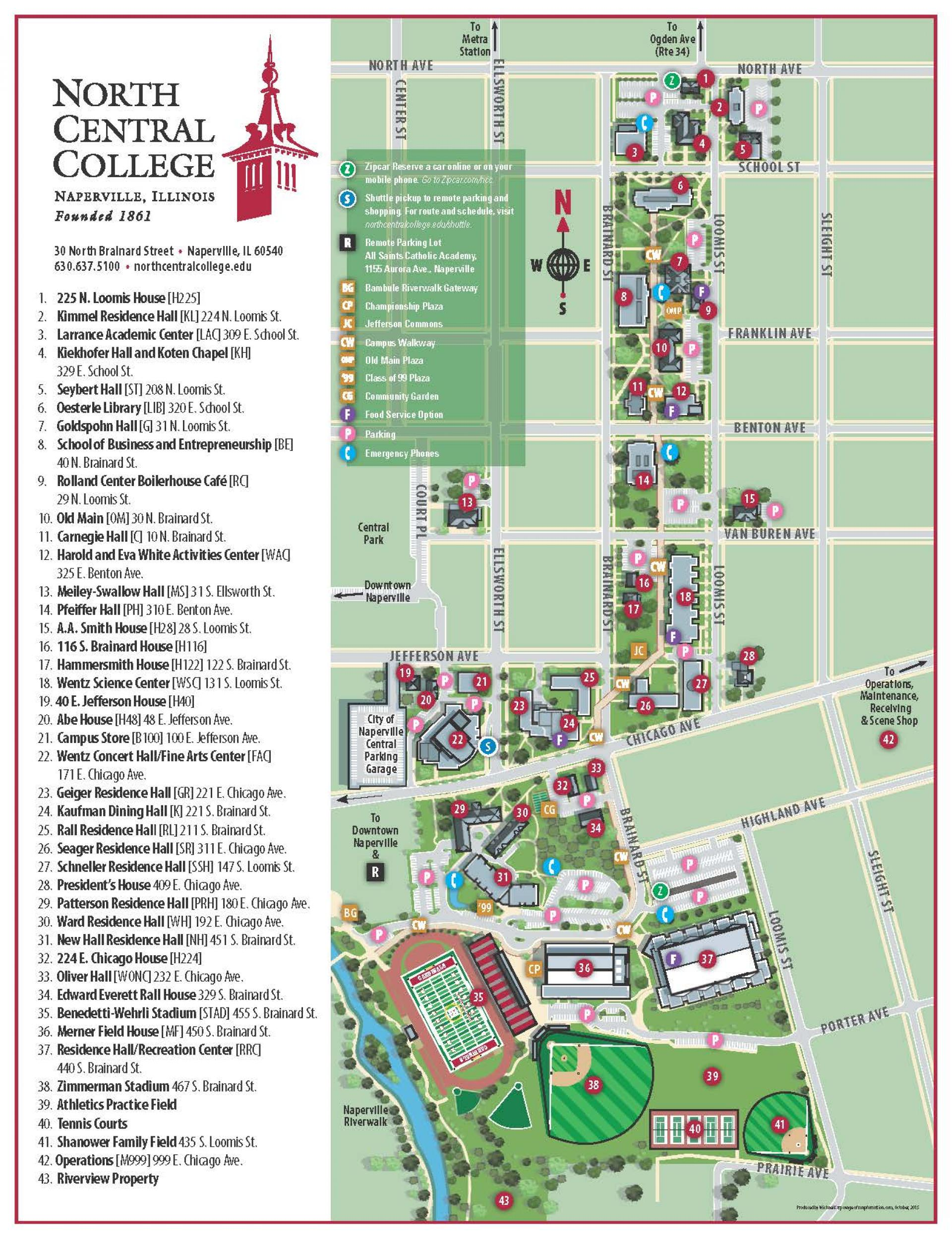 The 2018 edition of the North Central College campus map.