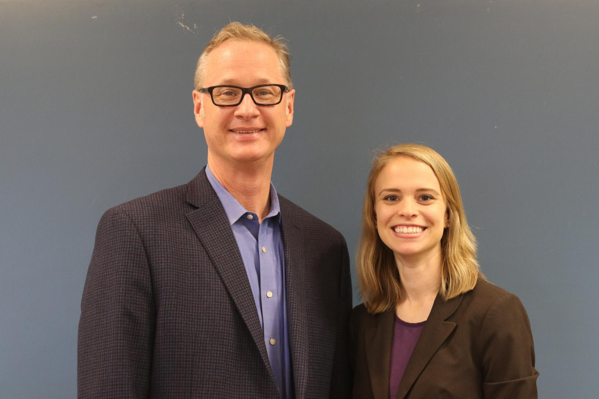 Professor Gregory Wolf and Emily Labedz after Labedz spoke to Wolf's German class at North Central College.