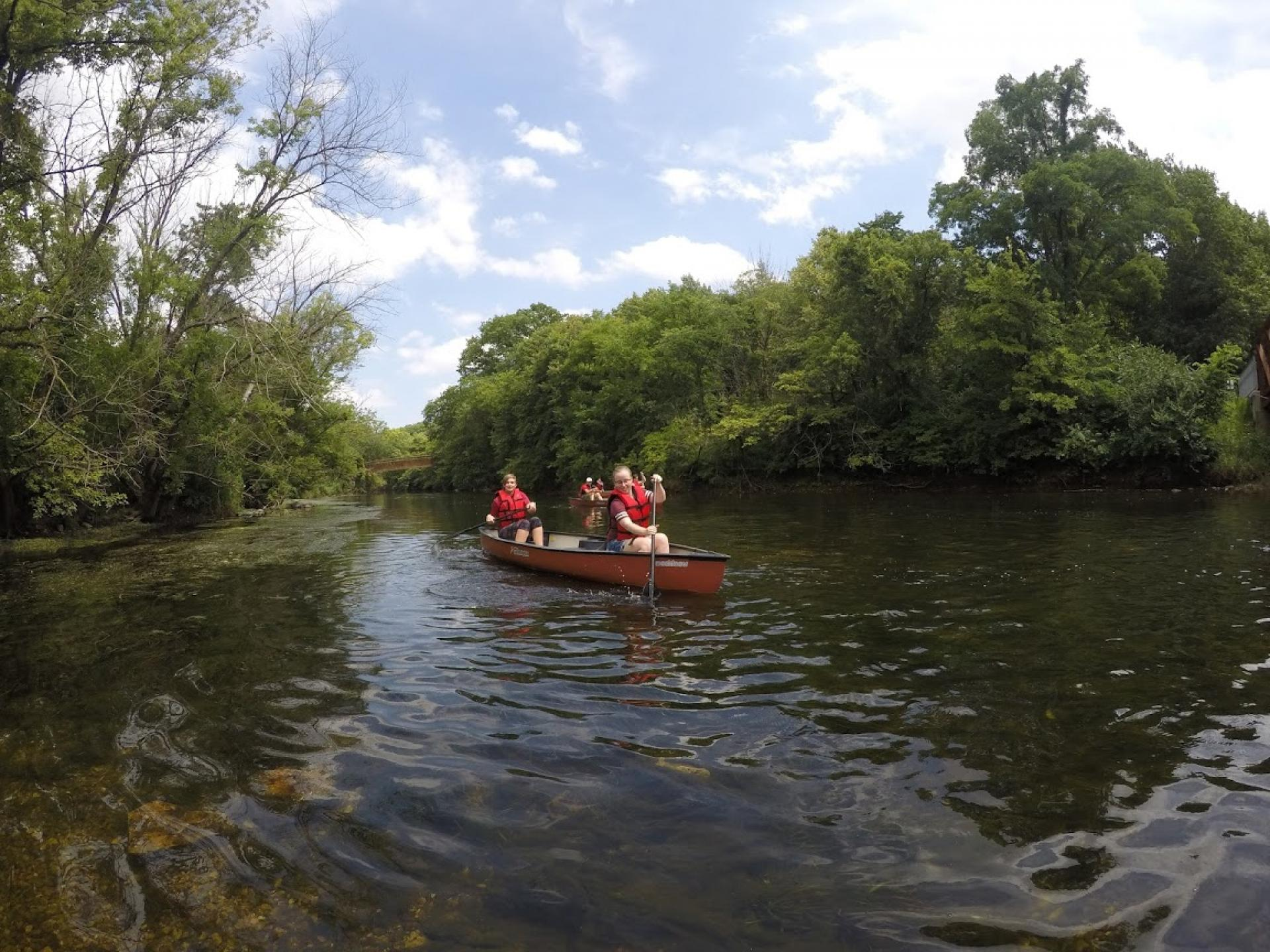 North Central Students kayaking down the DuPage River.