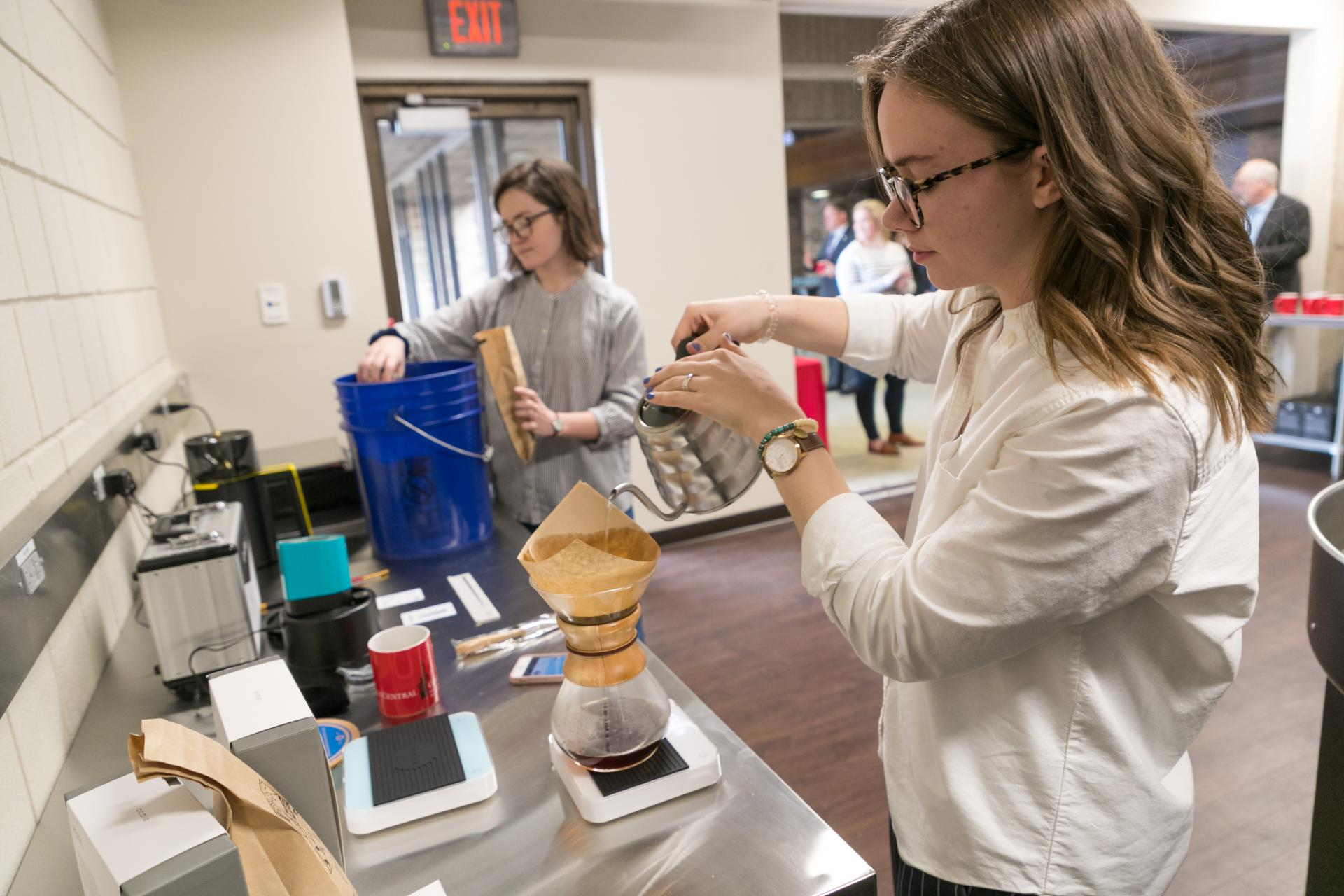 The coffee lab is worked in by North Central students.