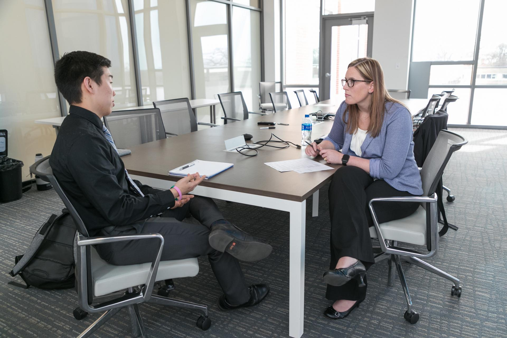 North Central College student Nick Moore talks career planning and interview advice with Katie Dornan.