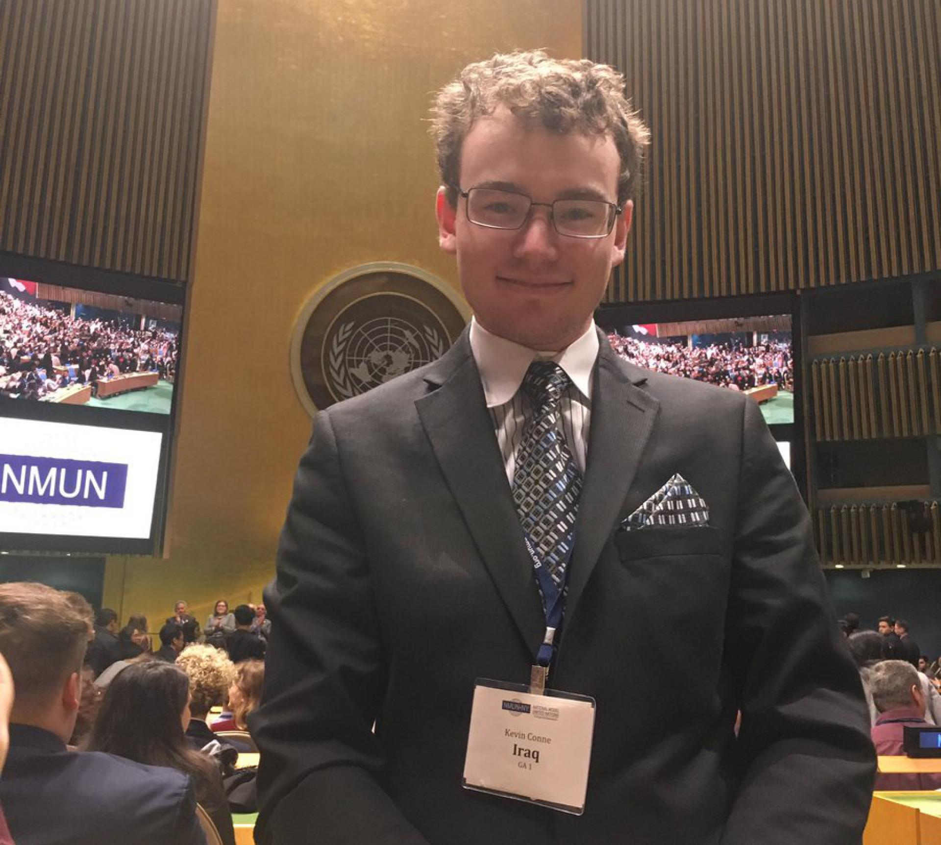 North Central College student Kevin Conne at the national model United Nations conference.