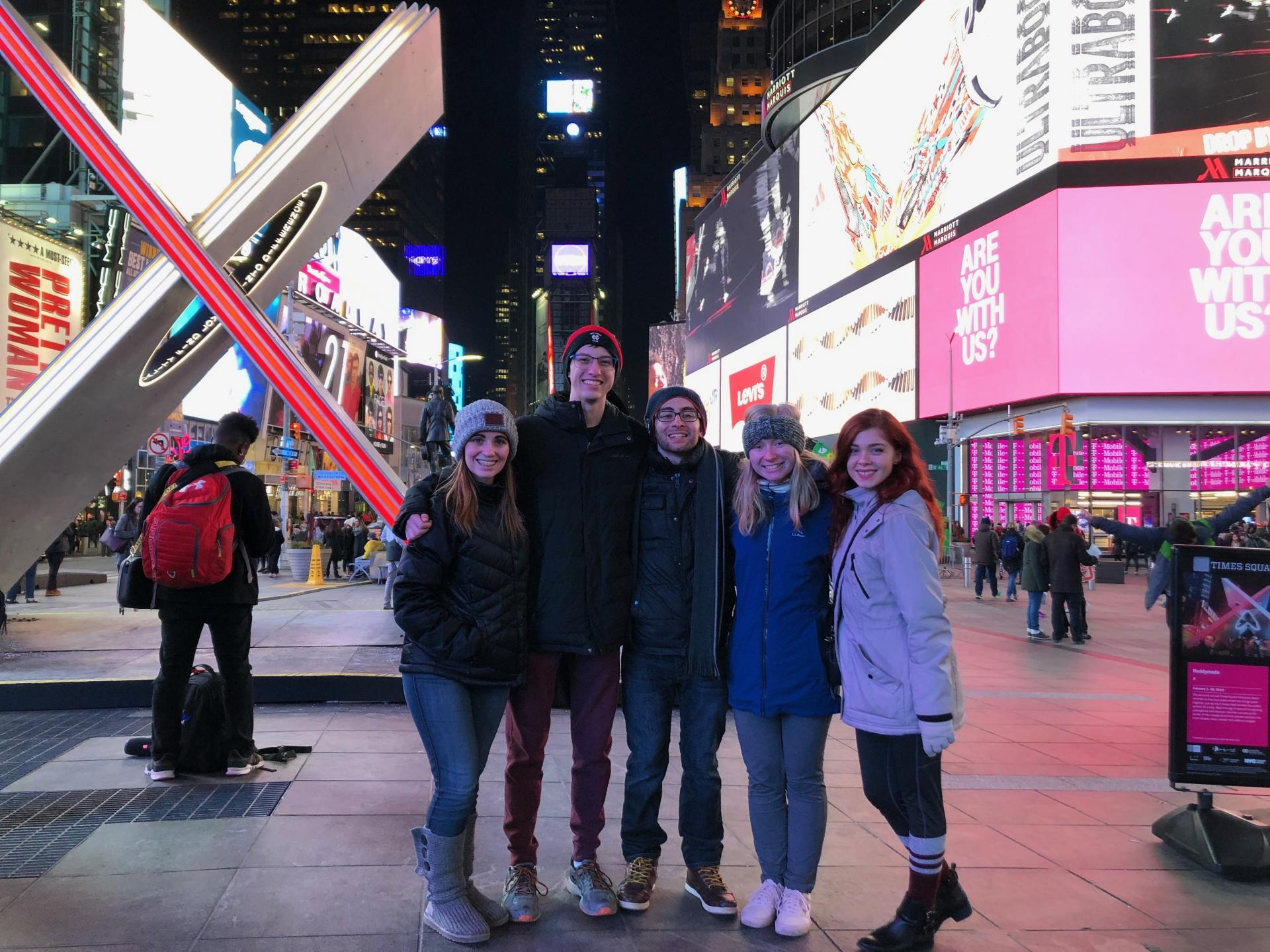 Staff from North Central College's WONC radio in Times Square.