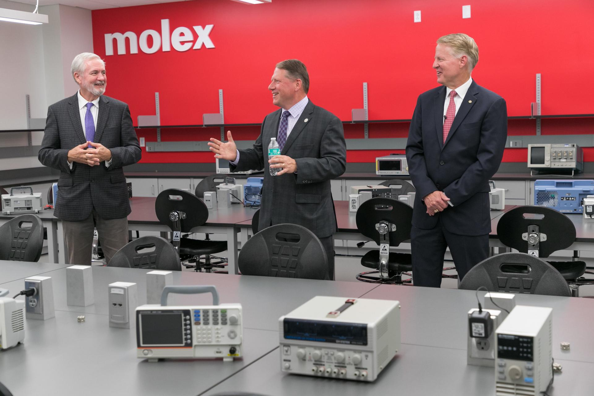 Professor Frank Harwath, President Troy Hammond and Molex CEO Joe Nelligan at the opening of the Molex Lab at North Central College.