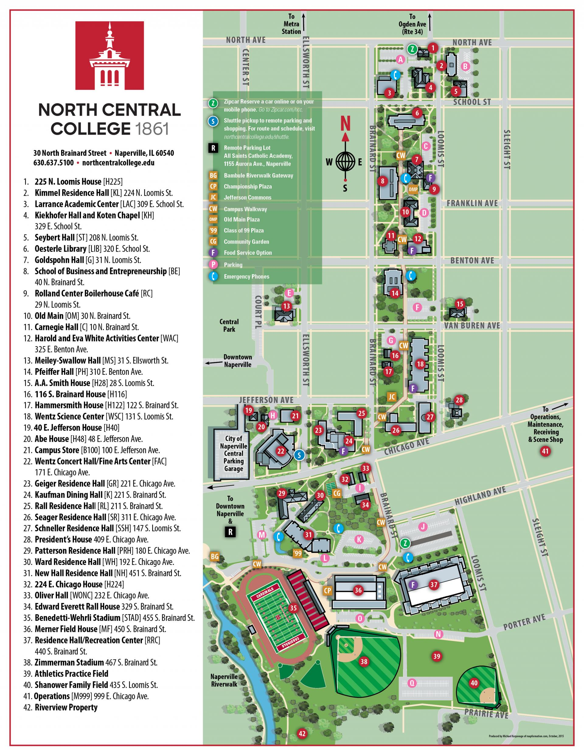 North Central College Map