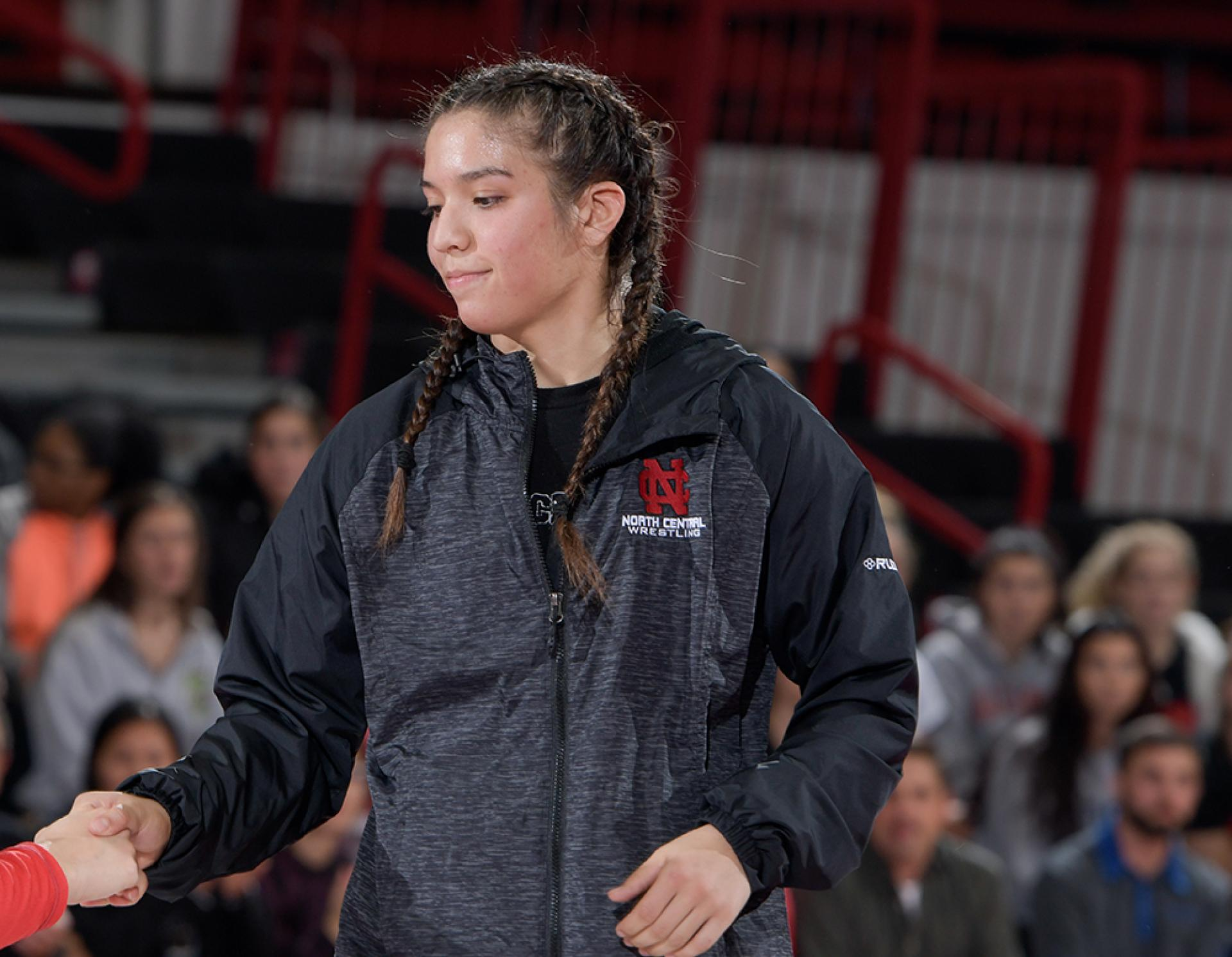Amanda Martinez before a North Central College women's wrestling meet.