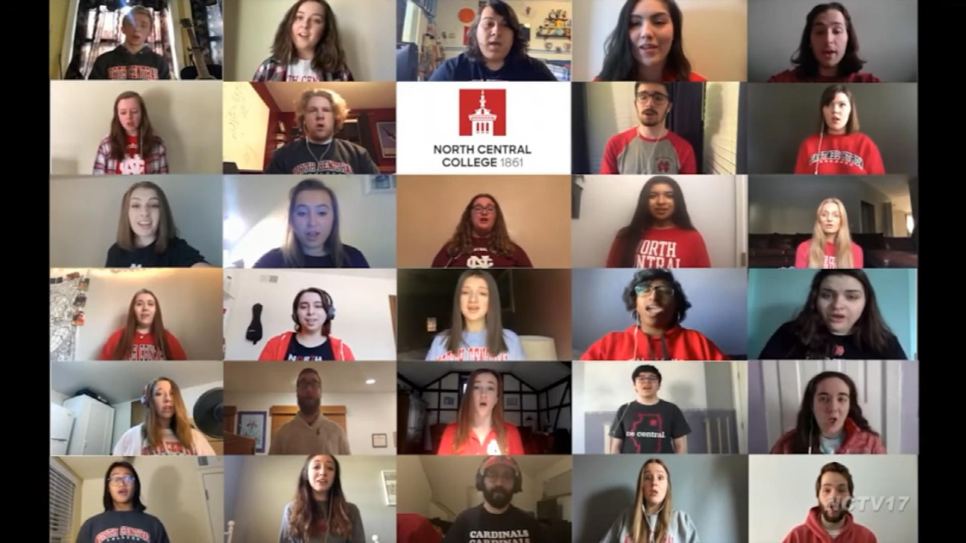 North Central's virtual choir performs the College alma mater.