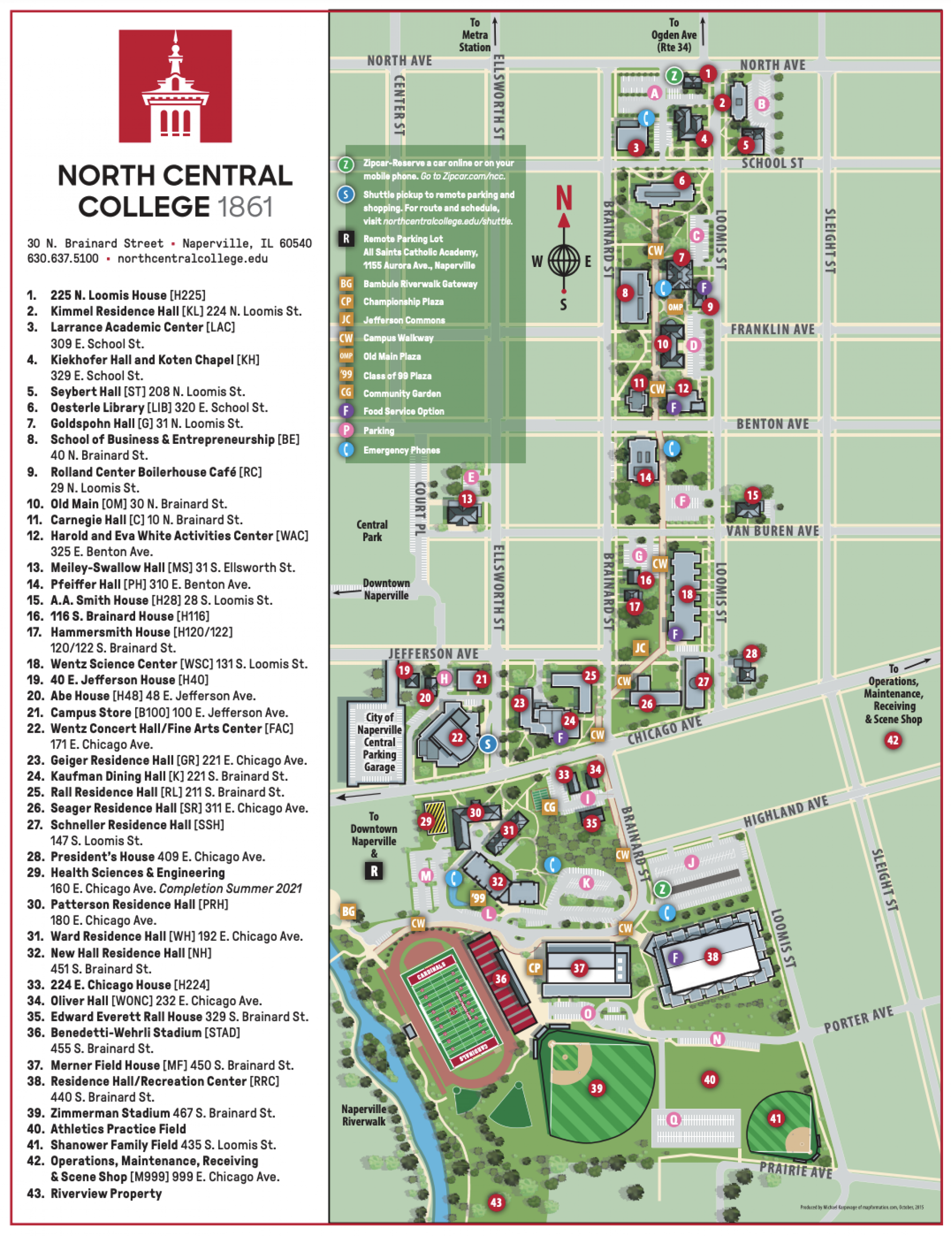 North Central College campus map