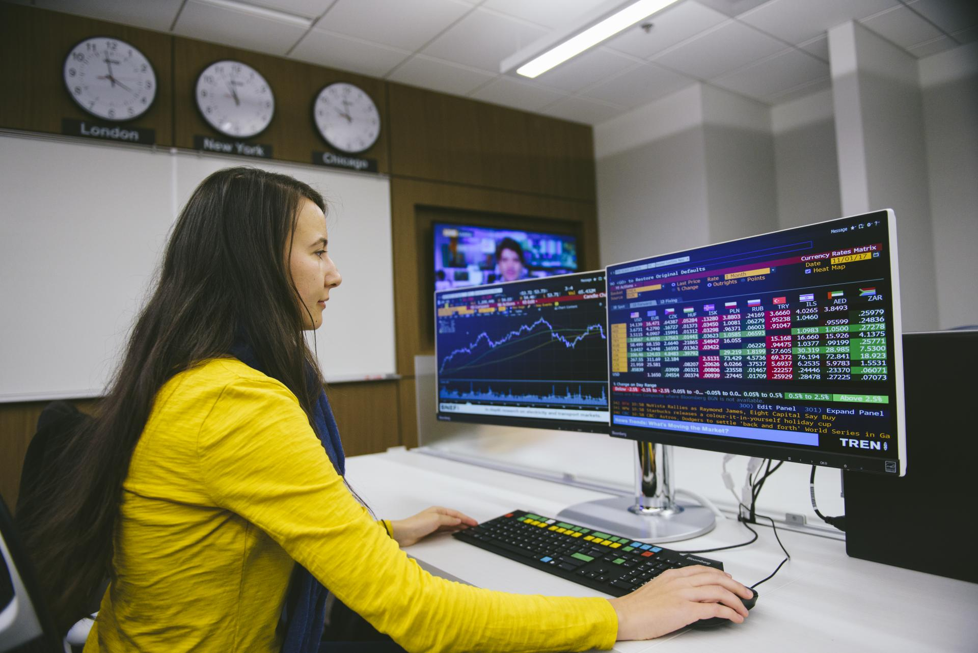 Madison Adamski  uses the Bloomberg Finance Lab at North Central College.