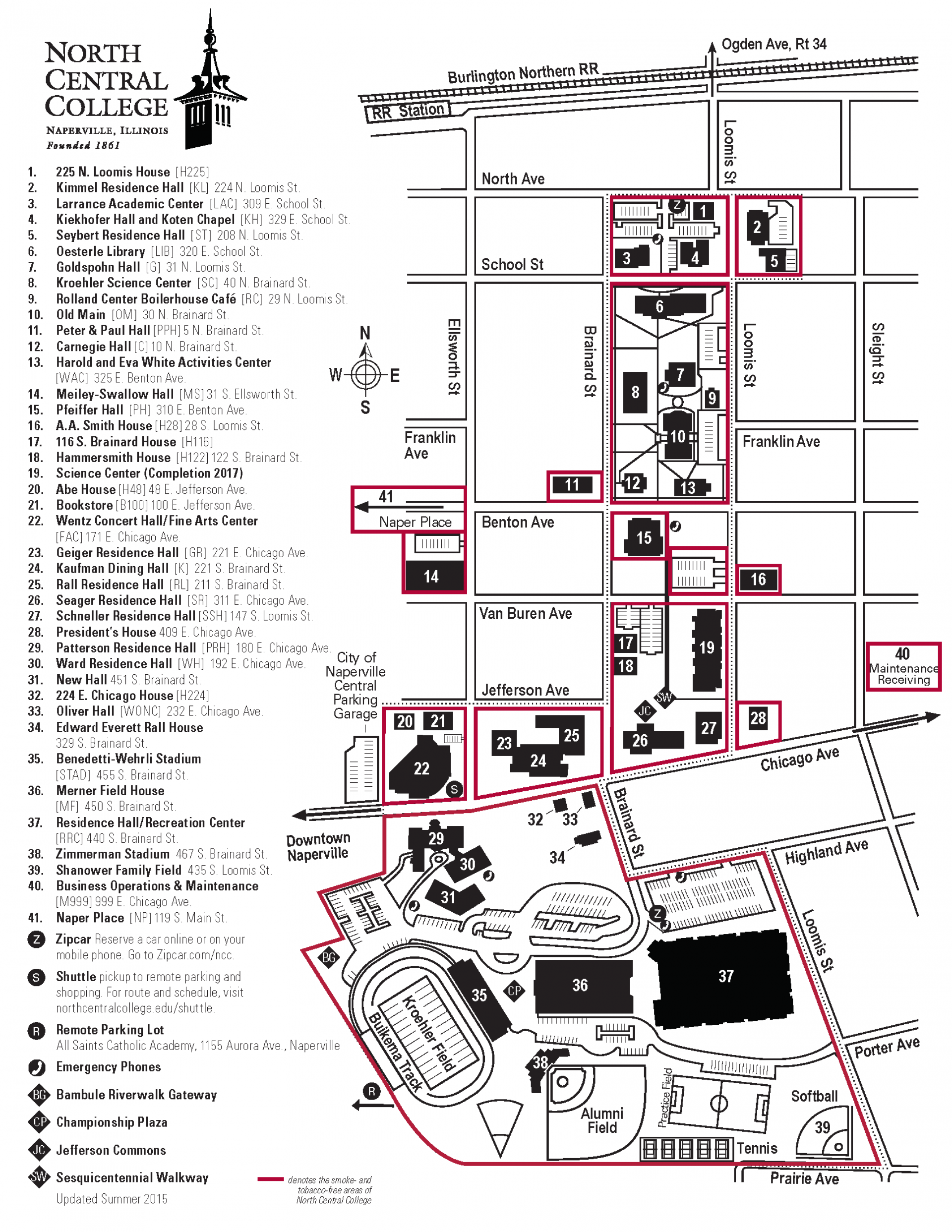 Heidelberg University Campus Map.Smoke And Tobacco Free Campus Map North Central College