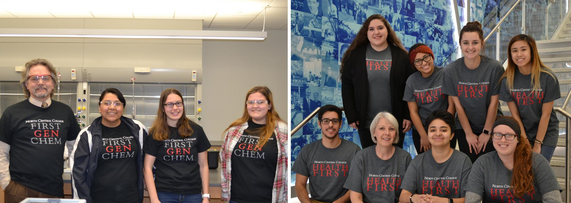 Students in the First Gen Chem and Health First programs with their faculty advisors.