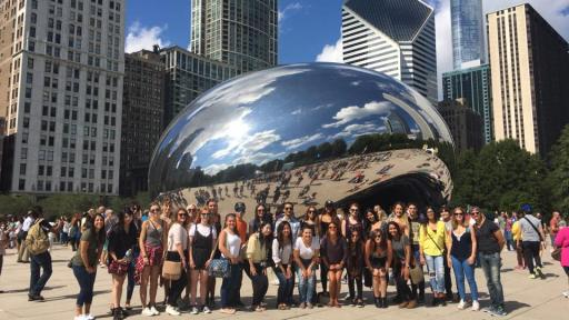 Students n front of the bean in downtown chicago