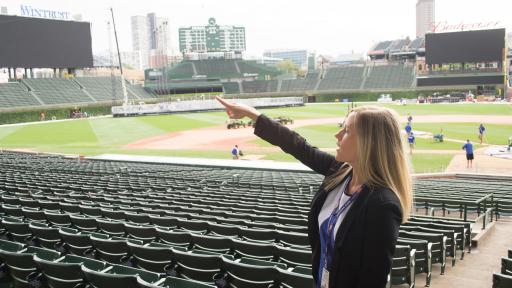 student interning at Wrigley Field