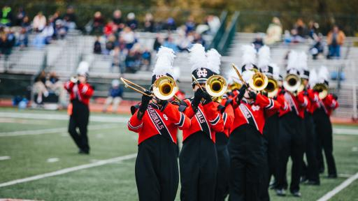 marching band performing at homecoming