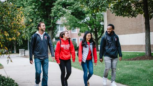 North Central College students walking on campus.