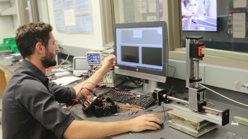 student in engineering lab