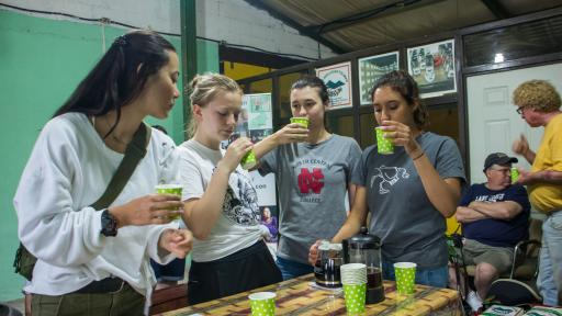 students tasting coffee
