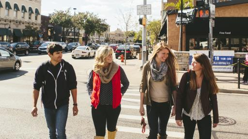 students walking around downtown naperville