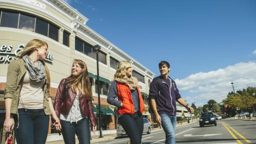 students walking in naperville