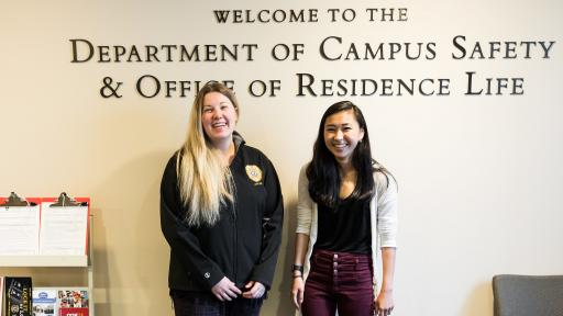 two student workers in the department of campus safety and office of residence life