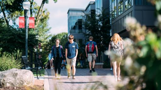 Students walking in the middle of campus