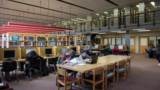 students in the Osterle library