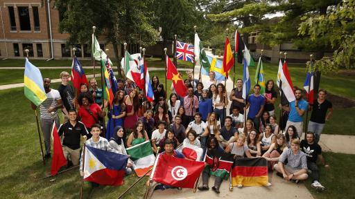 students with international flags