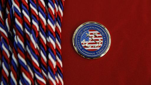 Cords and an emblem given to veterans upon graduation from North Central.