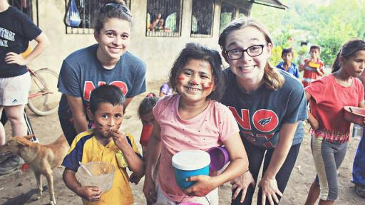 North Central students with local children in Nicaragua.